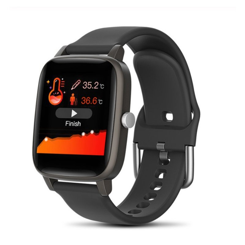 T98 Smart Watch Body Temperature Heart Rate Blood Pressure Monitor Sports Tracker Fitness Men Women Smart Bracelet Smartwatch black