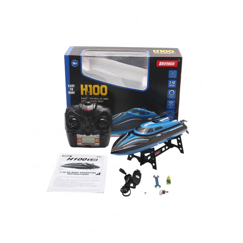 TKKJ H100 RC Boat High Speed 2.4GHz 4 Channel 30km/h Racing Remote Control Boat with LCD Screen Gift Kids Toys Blue