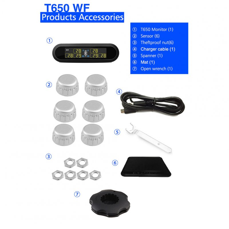 TPMS Tire Pressure Monitoring System Super LCD Universal for 6 Wheels Bus Van with 6 Sensors black_T650