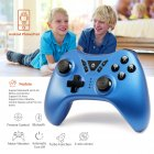 TSW05 Wireless Gamepad Compatible for Switch PS4 PS3 PC Android TV Box Bluetooth Connection Ergonomic Design Pressure Sensitive Buttons blue