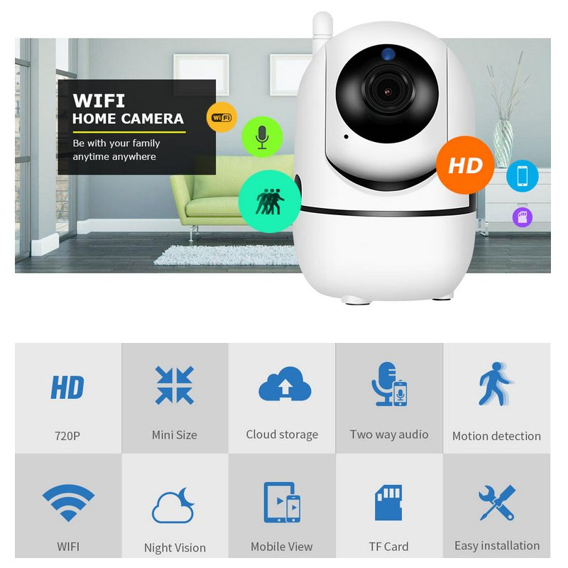 TUTK-Q2 Wireless WiFi Camera Mobile Phone Cloud Remote Monitoring Hd Household Video Recorder U.S. regulations