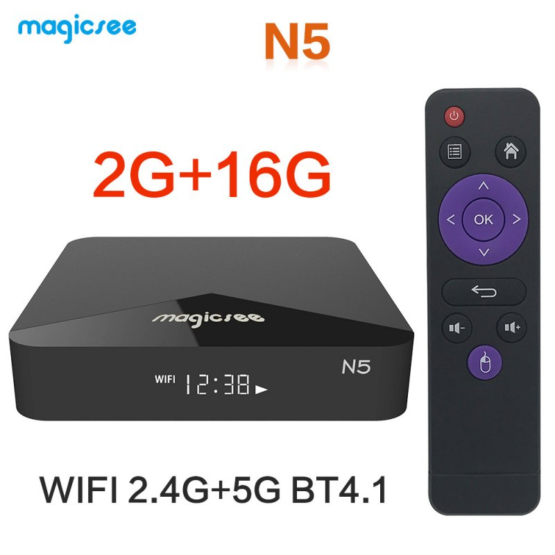 TV BOX N5 Android 9.0 TV BOX Amlogic S905X Quad-core 4K Resolution 2GB RAM 16GB ROM 2.4G 5G WiFi Set Top Box black_2 + 16GB dual WIFI European regulations