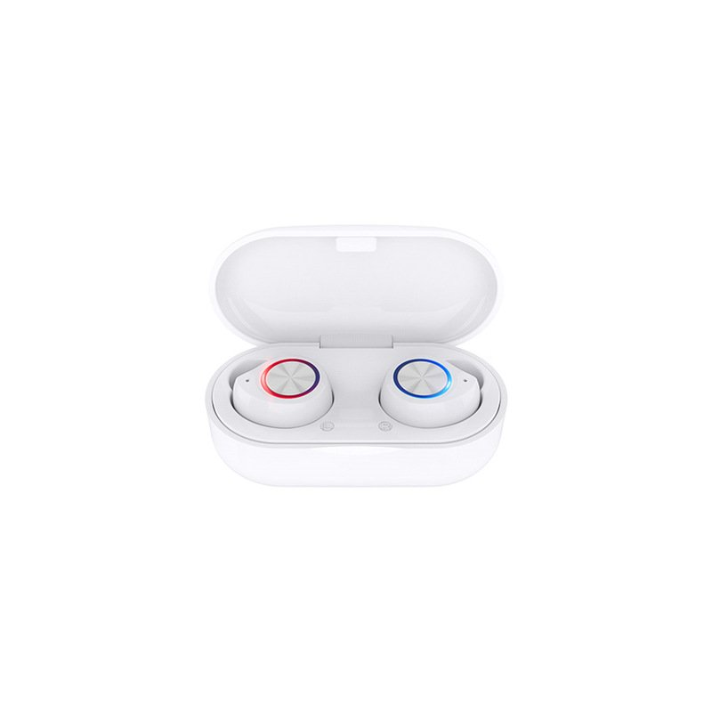 TW60 TWS Wireless Earphone Bluetooth 5.0 HiFi Stereo Headset Handsfree Call Sport Dual Earbuds Built-in HD Mic  White