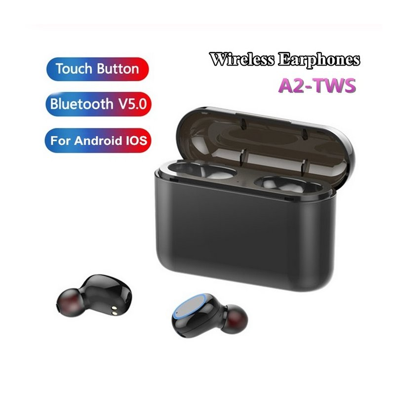 TWS Bluetooth 5.0 Earphones Headphones In-ear Headset Sports Earbud for android ios all smart earphone Black 2600 mAh