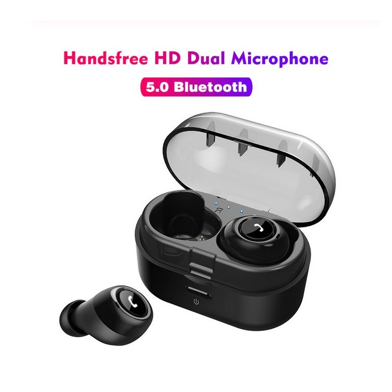 TWS Bluetooth 5.0 Headset Wireless Handsfree Earphones for Sport Driving Stereo Music Mini Earbuds with Charging Box black