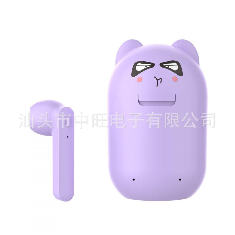 TWS Bluetooth Earphone 5.0 Running Stereo Cartoon Headset with Data Line purple