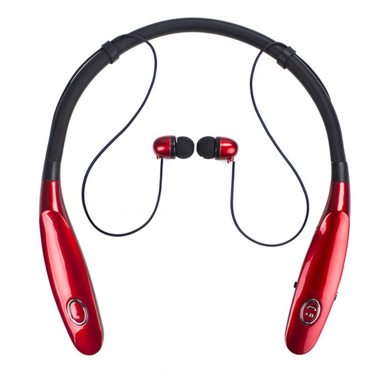 TWS Bluetooth Earphone Wireless Headphones Hanging Neck Type Sports Earbuds red