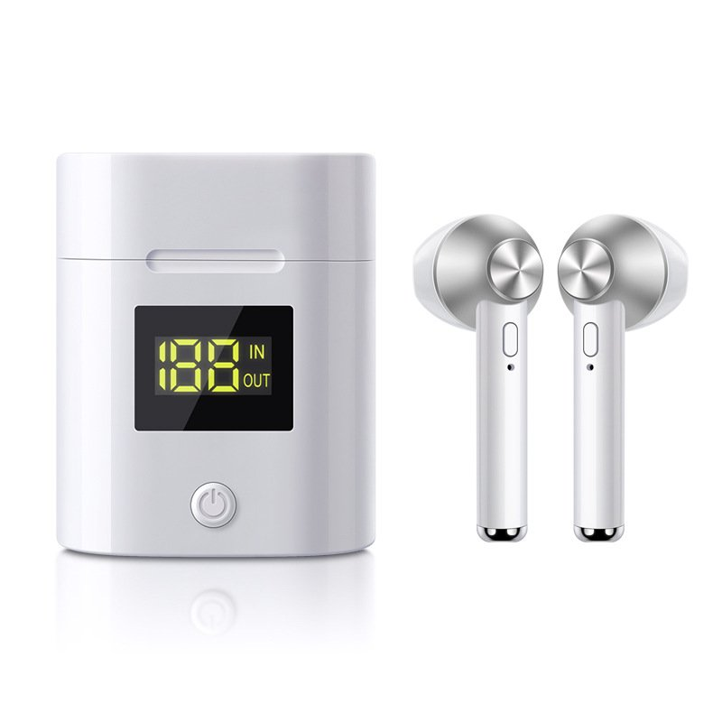 TWS Bluetooth Headset Stereo 5.0 Auto On Pairing Power Display In Ear Headphone Silver
