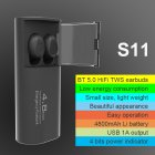 TWS Bluetooth Headset Stereo Wireless Gaming Headphones with 4800mah Charging Bin black