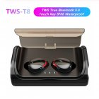 TWS T8 Bluetooth 5.0 True Wireless Earphones In-Ear Earbuds Deep Bass Stereo IPX6 Waterproof Sports Headset black