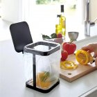 Tabletop Small Trash Can Storage Rack with Cover for Kitchen Living Room black