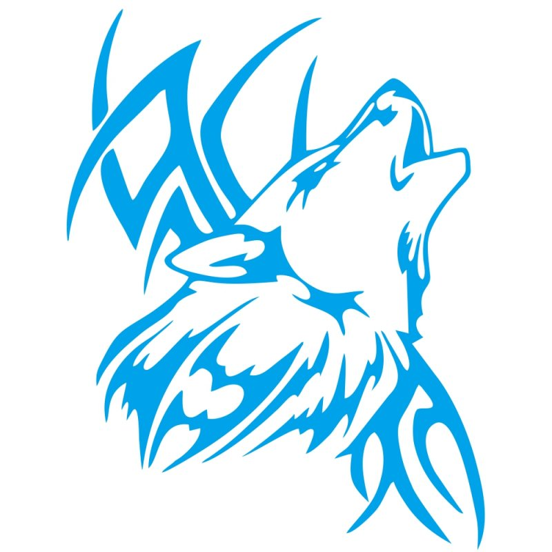 Tattoo Wolf Car Motorcycle Body Stickers Vinyl Car Styling Decal Accessories blue