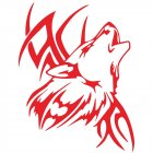 Tattoo Wolf Car Motorcycle Body Stickers Vinyl Car Styling Decal Accessories red