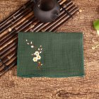 Tea Towel Embroidery Plum Blossom Water-absorbing Thicken Cotton Linen Bowl Teapot Cleaning Towel dark green
