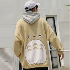 Teenager Lovers Men Women Loose Long Sleeve All Match Hooded Coat Sweatshirts khaki_M