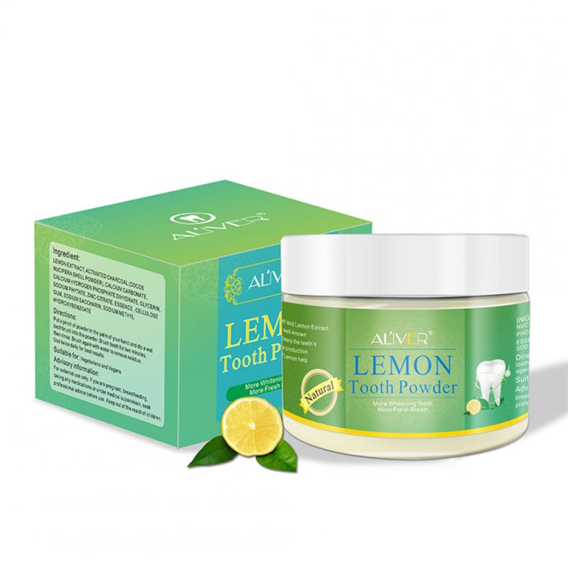 Teeth Whitening Powder Tangy Lemon Lime Hygiene Dental Tooth Cleaning Remove Tartar Safe Protect Teeth Oral Care 70g