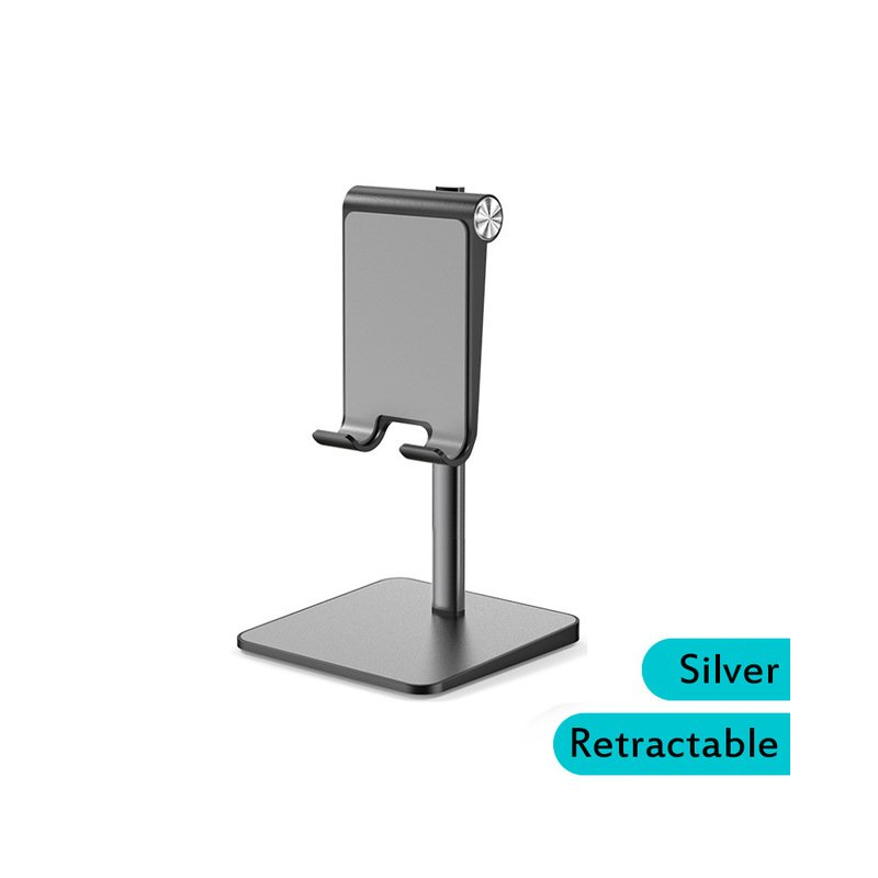 Telescopic Desk Mobile Phone Holder Stand for IPhone IPad Adjustable Metal Desktop Tablet Holder Gray-telescopic version