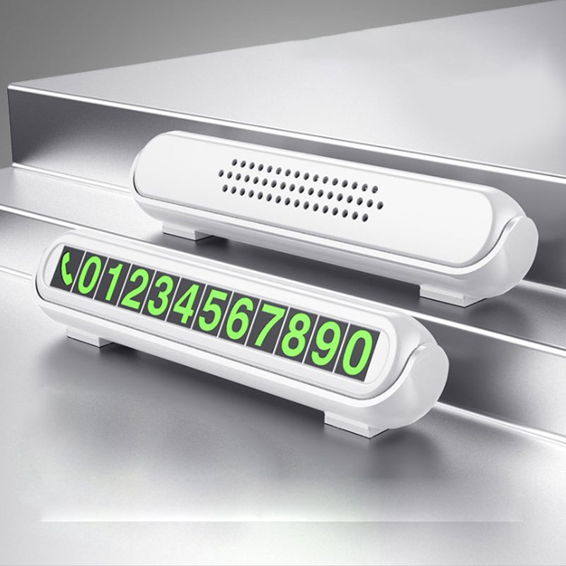 Temporary Car Parking Card Telephone Number Card Night Light Car Phone Number Card Hidden Number Plate white