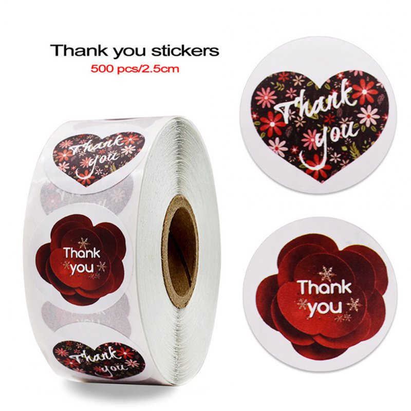 Thank You Sticker Red Flower Pattern Label Envelope Sealing Decoration red_25mm