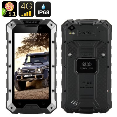 Conquest S6 Pro Rugged Phone (Silver-Black)