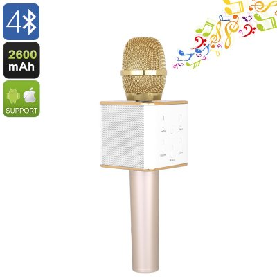 Q7 Bluetooth Karaoke Microphone (Gold)