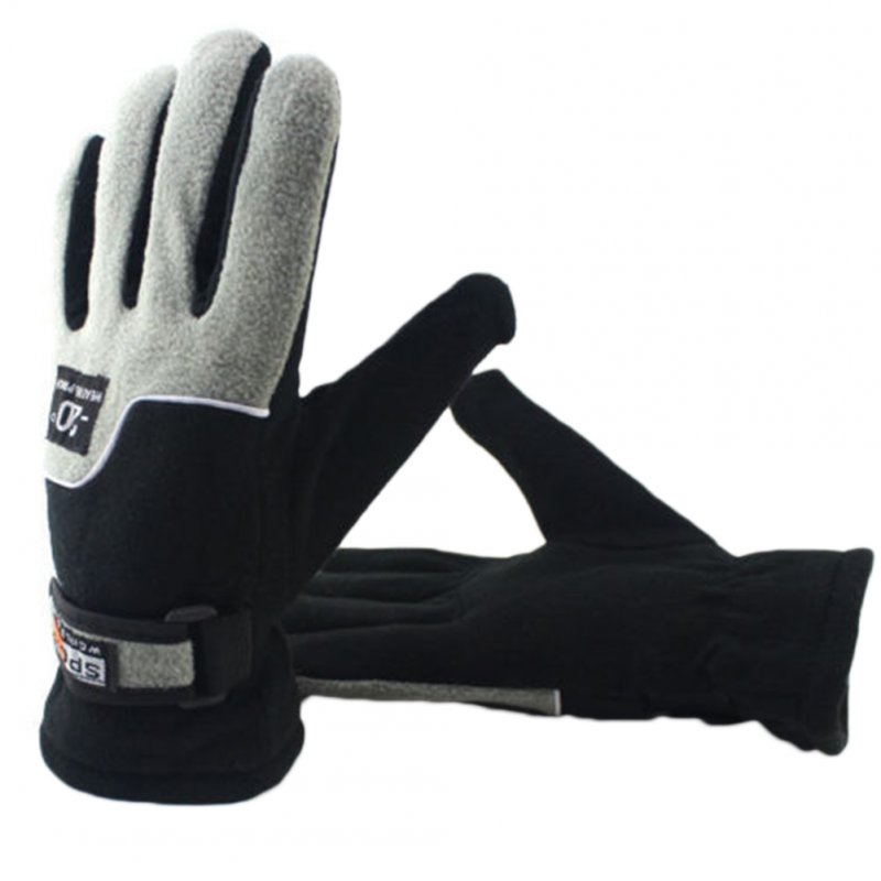 Thermal Fleece Lined Gloves Winter Hiking Walking Jogging Running Gloves men black ash_One size