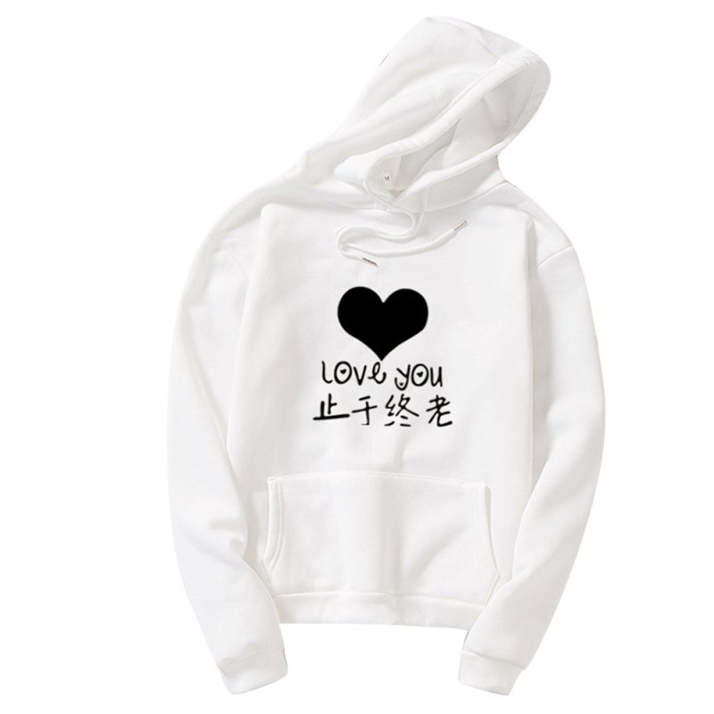 Thicken Casual Loose Printing Hooded Sweatshirts for Students Lovers Wear White_XL
