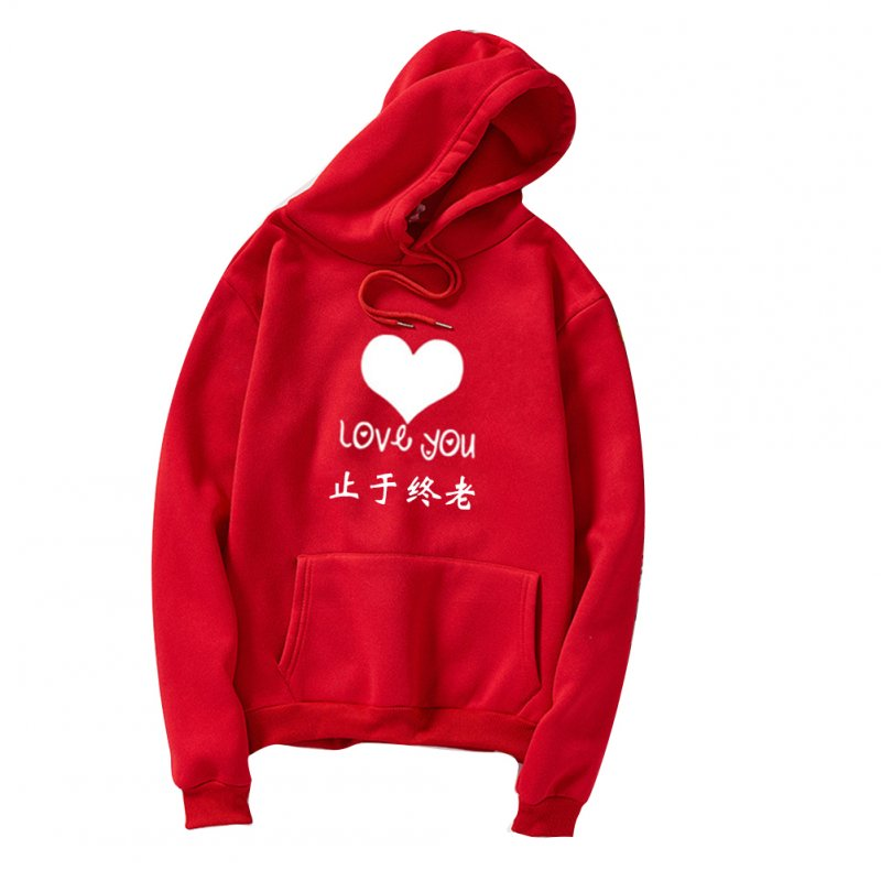 Thicken Casual Loose Printing Hooded Sweatshirts for Students Lovers Wear Red_L