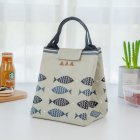 Thicken Insulated Lunch Bag Reusable Lunch Box Cute Canvas Fabric Lunch Tote Handbag light grey