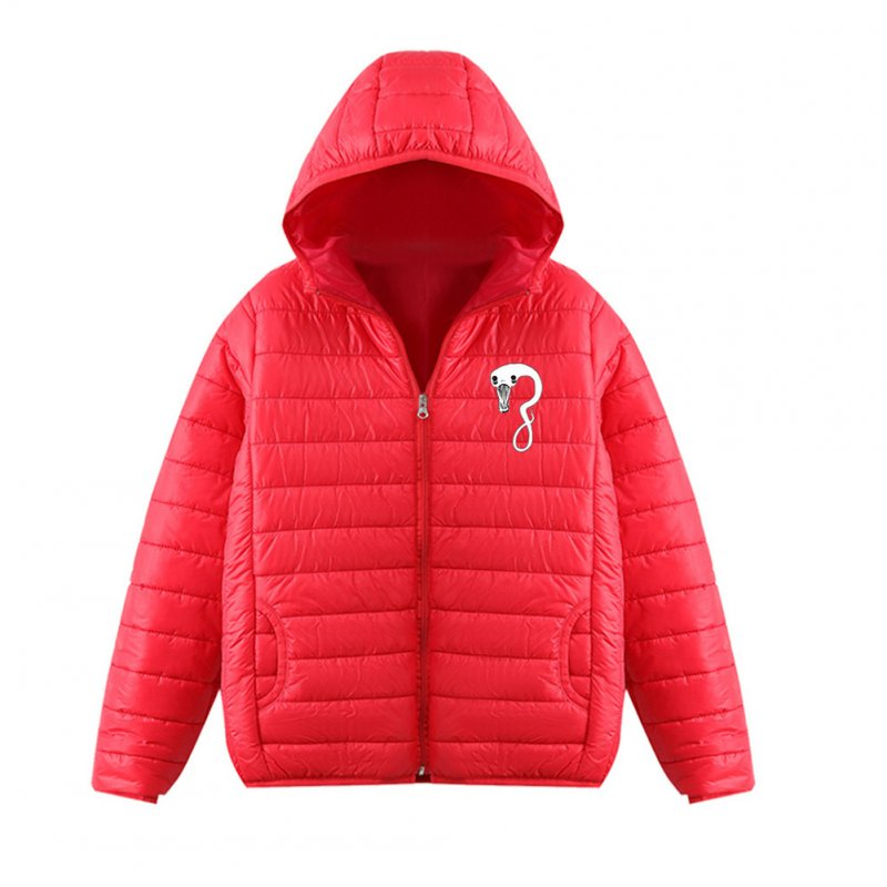 Thicken Short Padded Down Jackets Hoodie Cardigan Top Zippered Cardigan for Man and Woman Red D_M