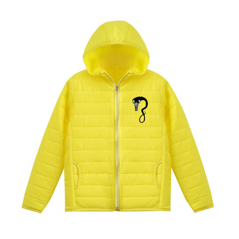 Thicken Short Padded Down Jackets Hoodie Cardigan Top Zippered Cardigan for Man and Woman Yellow D_XXXL