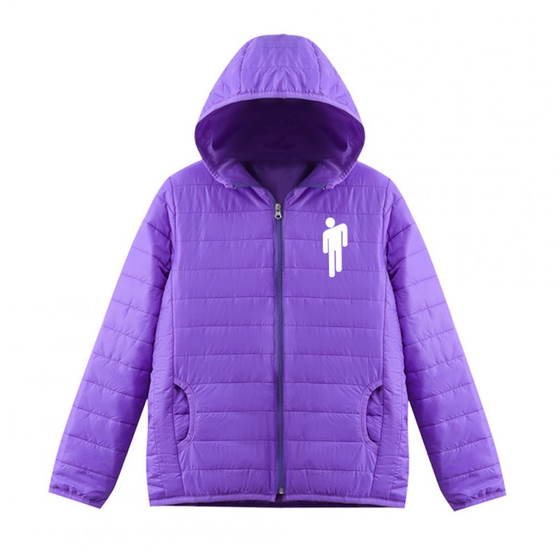 Thicken Short Padded Down Jackets Hoodie Cardigan Top Zippered Cardigan for Man and Woman Purple A_S