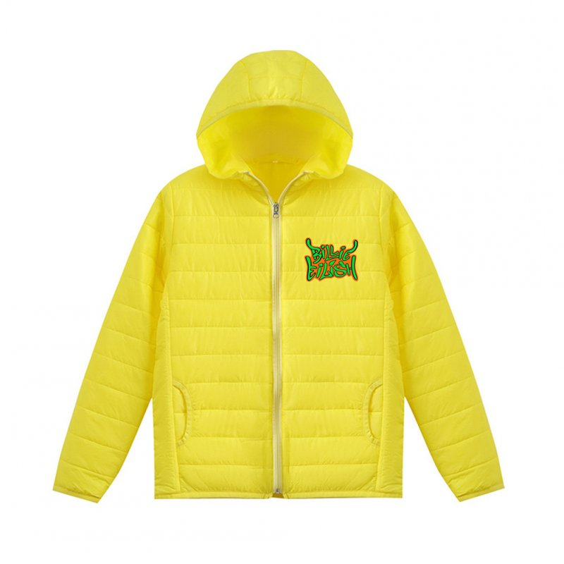 Thicken Short Padded Down Jackets Hoodie Cardigan Top Zippered Cardigan for Man and Woman Yellow C_M