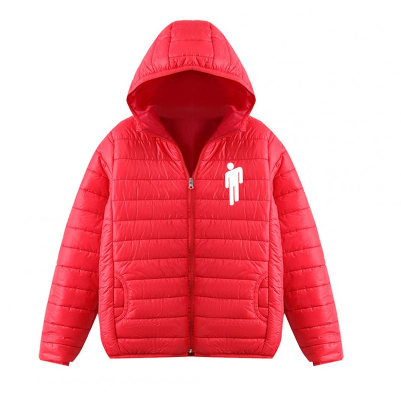 Thicken Short Padded Down Jackets Hoodie Cardigan Top Zippered Cardigan for Man and Woman Red A_XXXL
