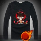 Thicken Velvet Sweater with Cartoon Pattern Decor Loose Pullover Top for Man Plus velvet black 3XL