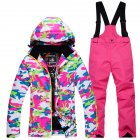 Thickened Outdoor Suit Warm and Cold-proof Ski Outfits Waterproof Winter Children's Ski Wear Red camouflage + rose red pants_M