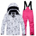 Thickened Outdoor Suit Warm and Cold-proof Ski Outfits Waterproof Winter Children's Ski Wear White lightning top + rose red pants_S