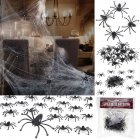 Thinkmax Halloween Decorations Stretchable Party Ornament Spooky Spider Web with 24 Fake Spiders  Fit for Indoor and Outdoor