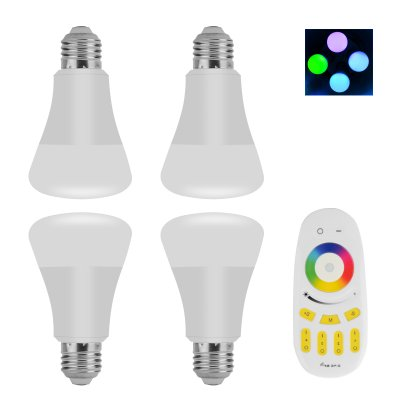4 E27 RGBW LED Bulbs With Remote