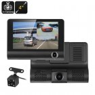 This HD Car DVR Kit comes with a total of 3 cameras that include an HD front camera and rear view parking camera