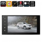 This Universal 2 DIN car stereo for your Toyota car runs on an Android 6 0 OS  It lets you enjoy media in crisp HD resolution and features GPS navigation
