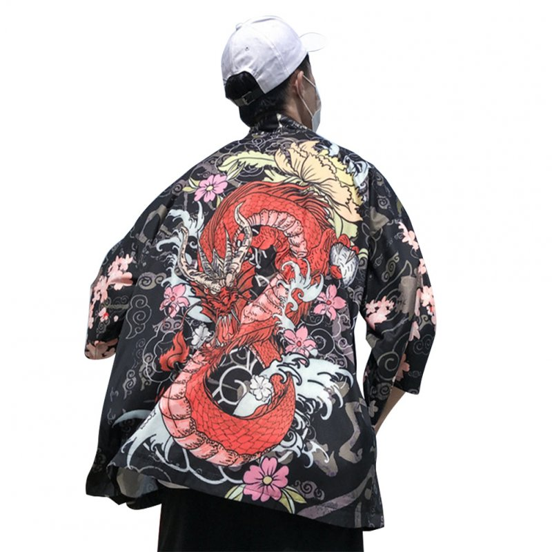 Three Quarter Sleeve Loose Thin Kimono Cardigan Shirt for Men Women Lovers 1928#_L