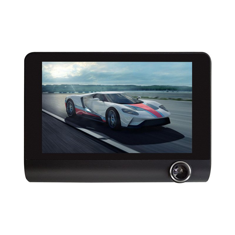 Three-camera Full High-definition 4-inch DVR Driving Recorder Reversing Image black