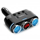 Three-point Lighter Dual USB Car Charger