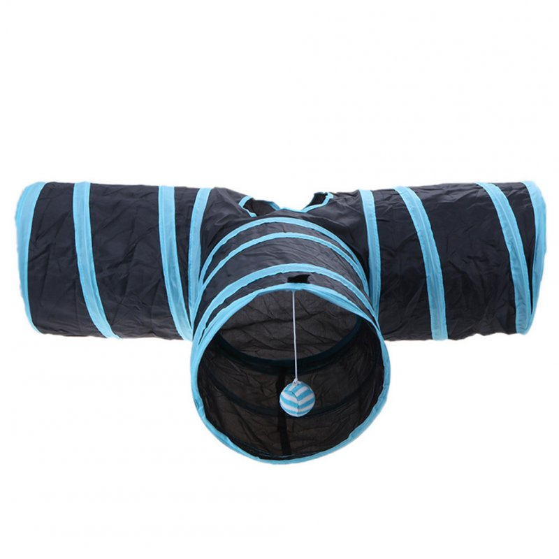 Three-way Pet Cat Folding Tunnel Interative Tube Fun Toy with Small Ball blue