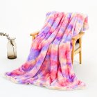 Tie-dye Throw Blanket Long Hair Fuzzy Decorative Blankets for Couch Sofa Bed Sleeping purple_ 130*160cm