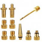 Tire Bicycle Compressor Adapter Set Durable Copper Air Pump Inflator Easy Install Needle Nozzle 10 piece set_One size