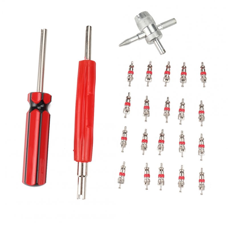 Tire Valve Repair Tool Set Dual Single Head Valve Core Remover Tools 4-Way Valve Tool and 20 Pcs Brass Valve Cores  red