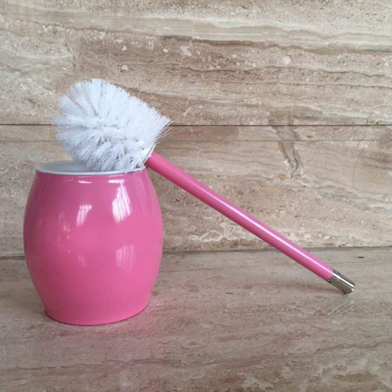 Toilet Brush with Stainless Steel Circular Base for Bathroom Toilet Cleaning Pink