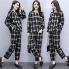 Tops Pants Women Large Size Loose Plaid Printing Long Sleeve Shirt   Pants Set black M